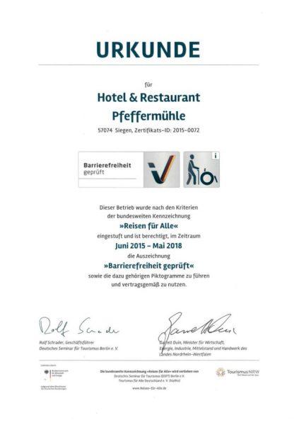 hotel-pfeffermuehle-siegen-zimmer-barrierefrei-urkunde-zertifikat
